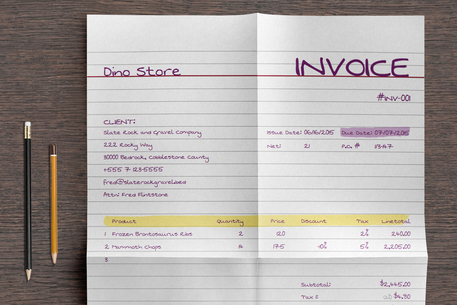 Handwritten Invoice Template