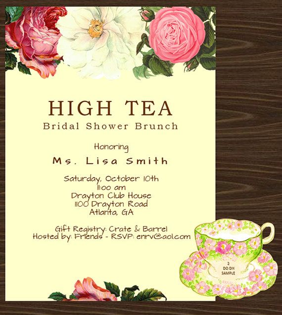 High Tea Invitation Template Blank