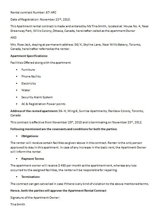 House Rent Contract Template