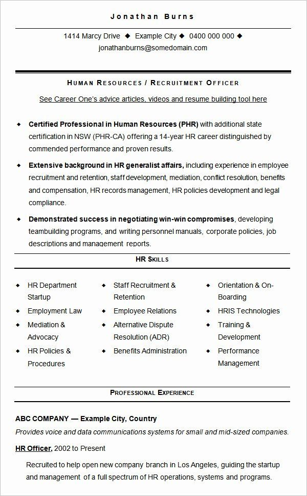 Human Resource Hr Resume Templates