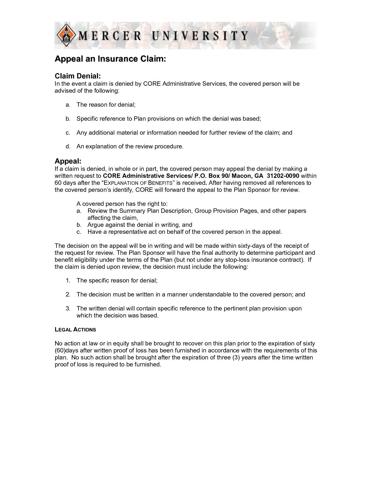 Insurance Denial Appeal Letter Template