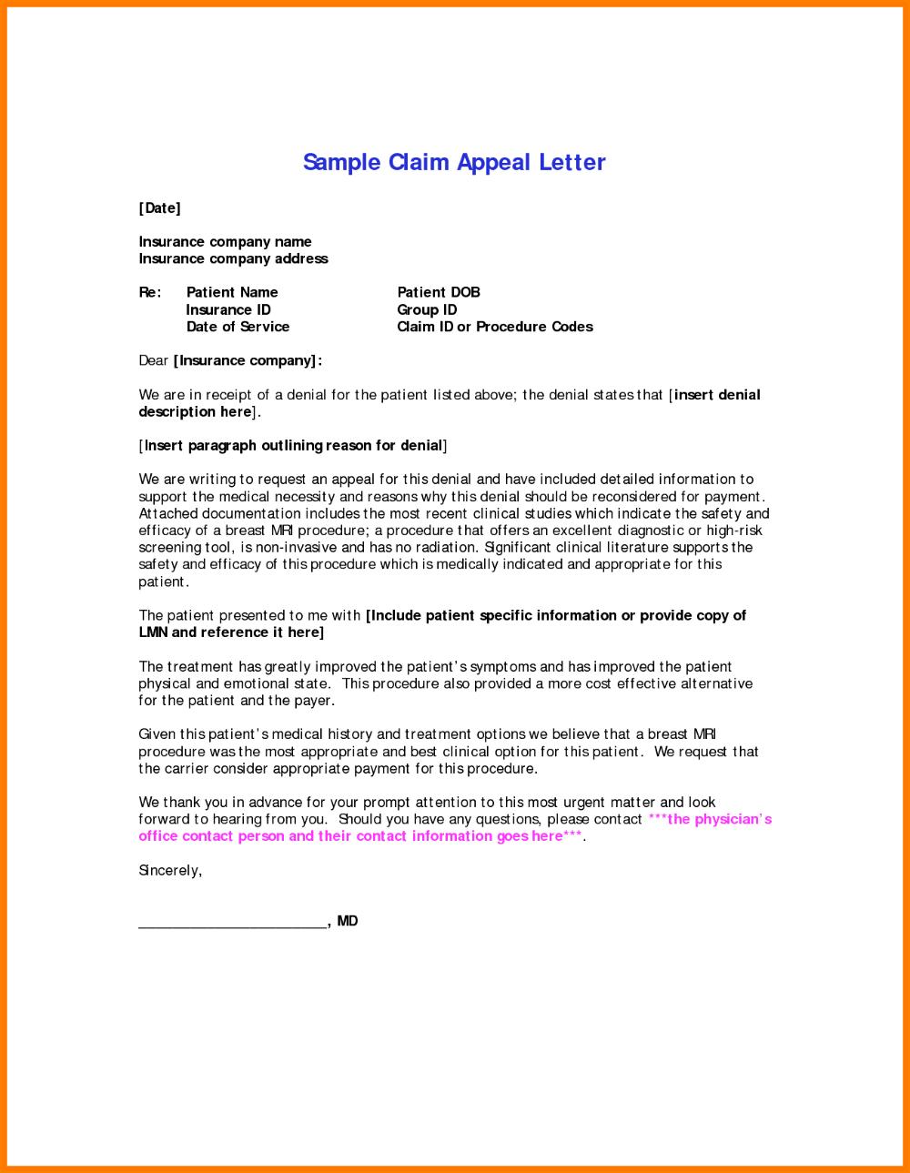 Insurance Denial Letter Template