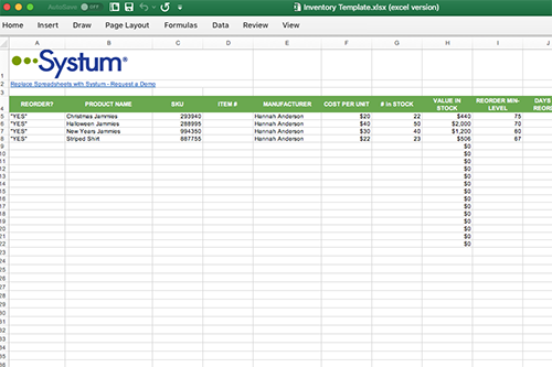 Inventory Management Small Business Inventory Excel Template