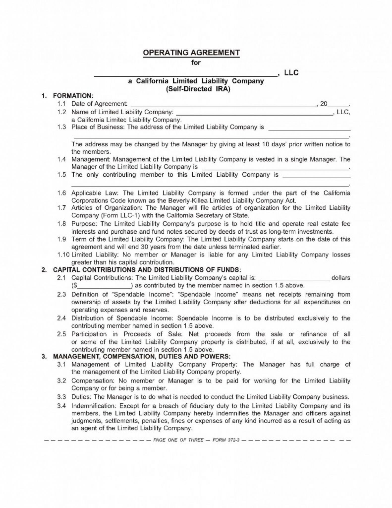 Ira Llc Operating Agreement Template