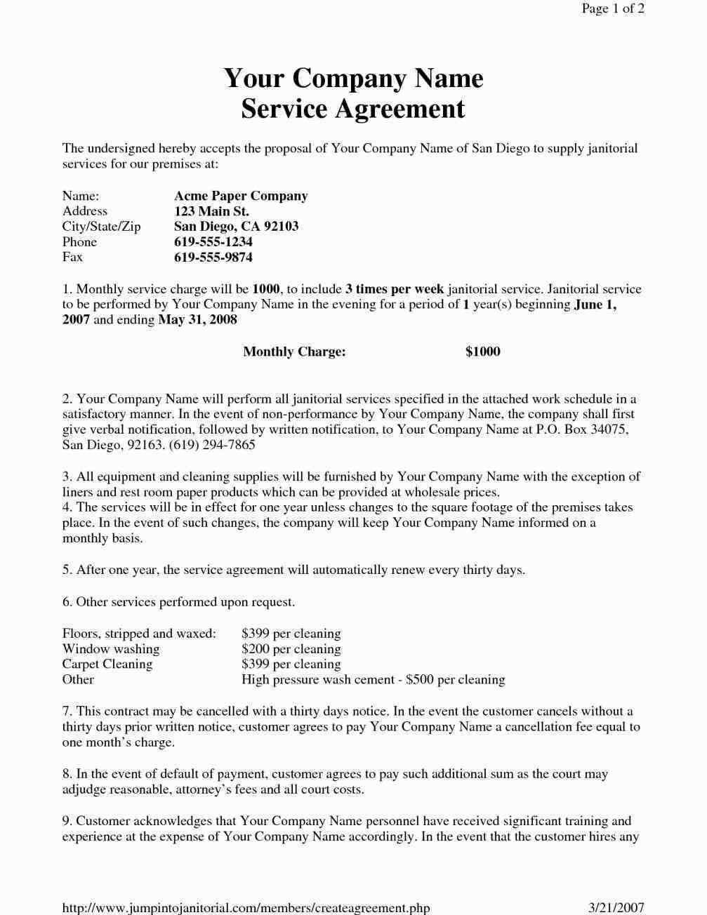 Janitorial Contracts Templates