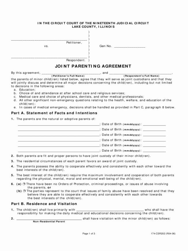 Joint Custody Parenting Plan Template