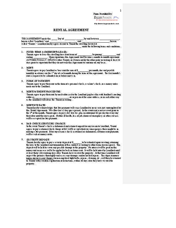 Land Rental Agreement Template