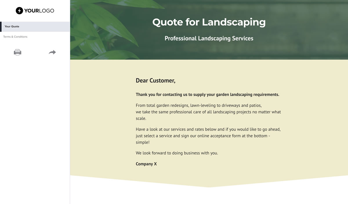 Landscaping Quote Template