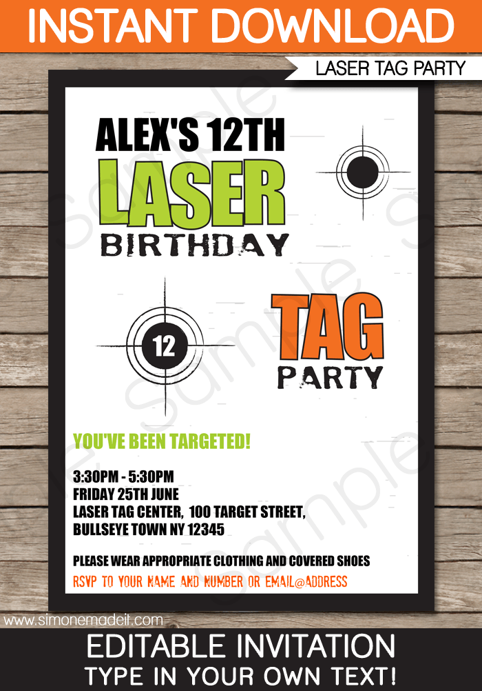Laser Tag Invitation Template