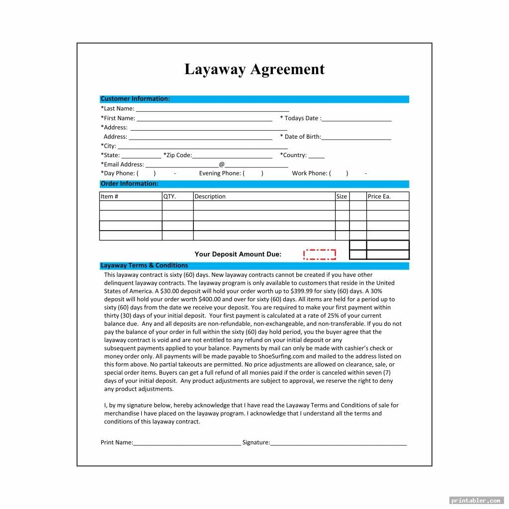 Layaway Contract Template Free