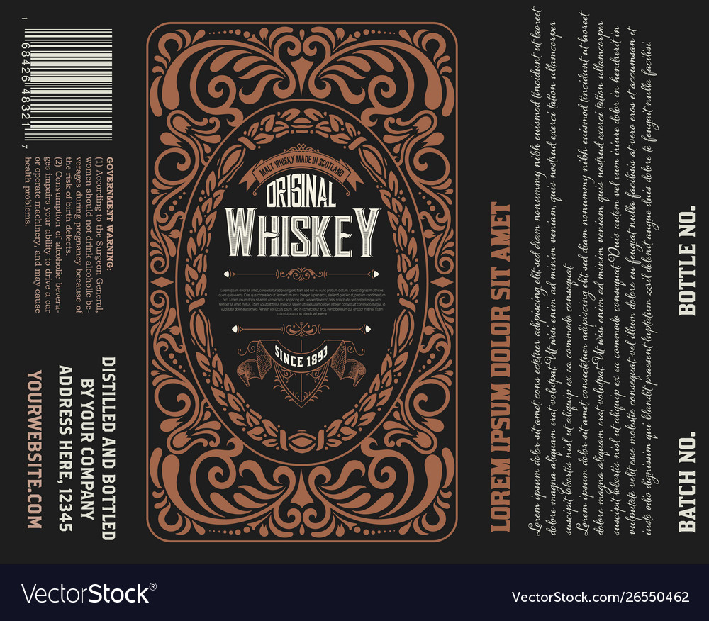 Vintage Liquor Label Template. Vector Layered