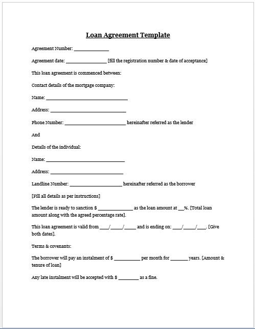 Loan Car Agreement Template Free