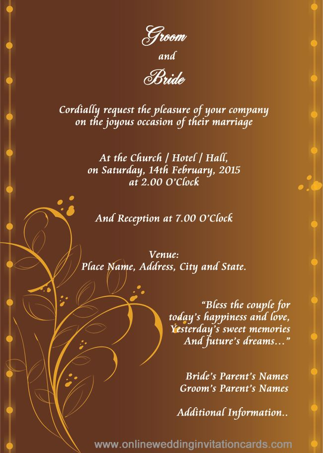 Marriage Invitation Template Wedding Invitation Card