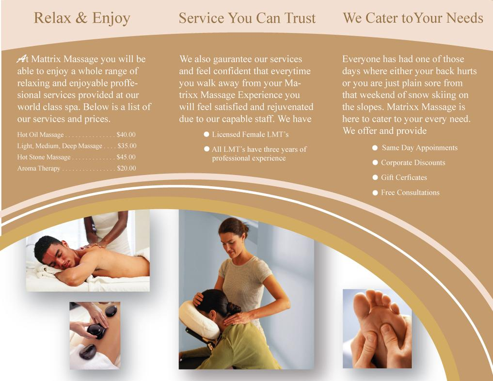 Massage Therapy Brochure Templates Free