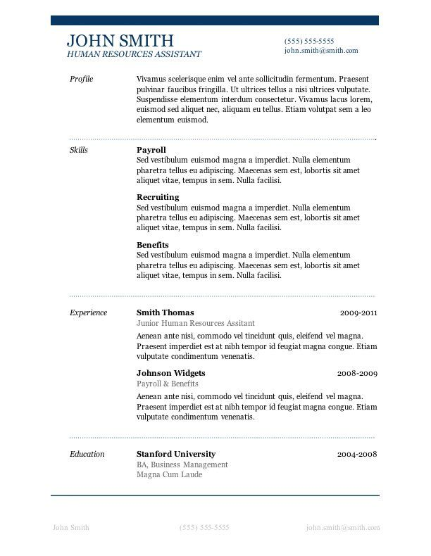Microsoft Free Resume Templates Download