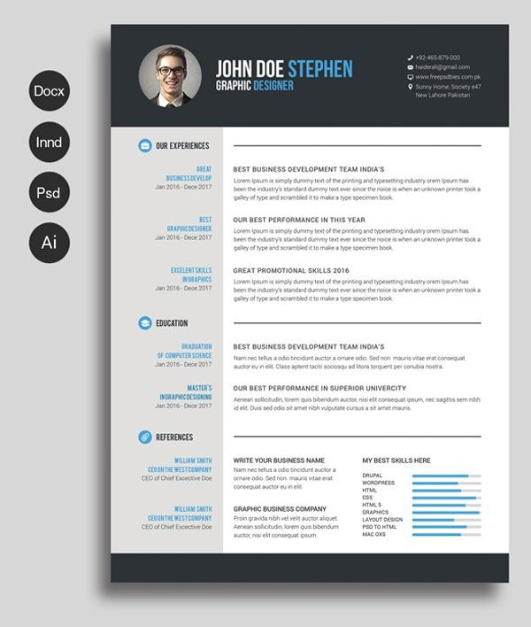 Microsoft Word Editable Resume Template Free Download
