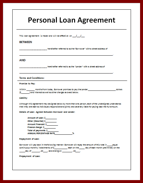 Money Lending Agreement Template