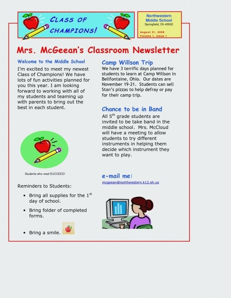 Monthly Newsletter Free Newsletter Templates For Teachers