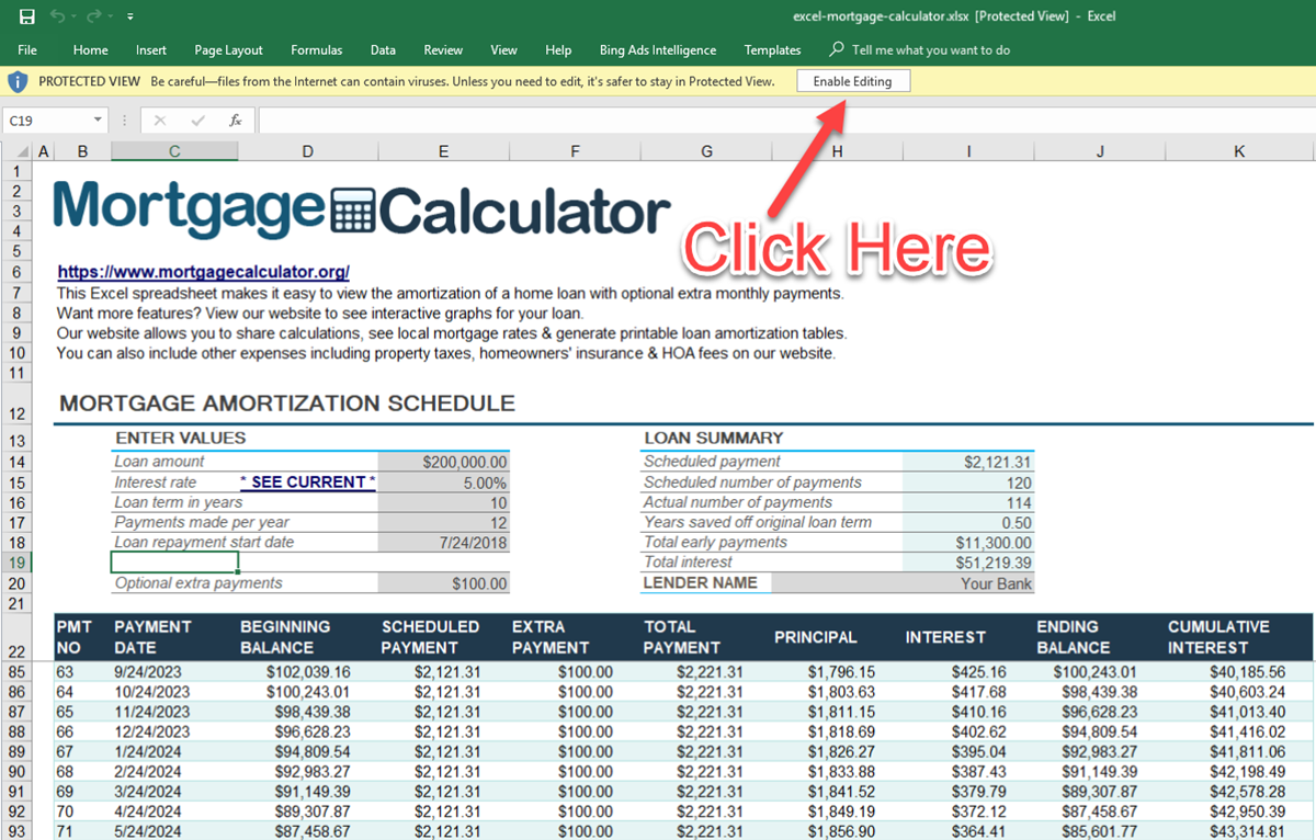 Mortgage Excel Spreadsheet Template