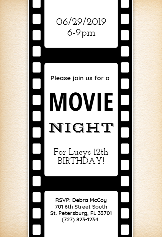 Movie Night Party Invitation Template Free
