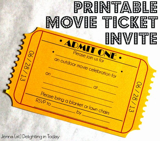 Movie Ticket Invite Template Free