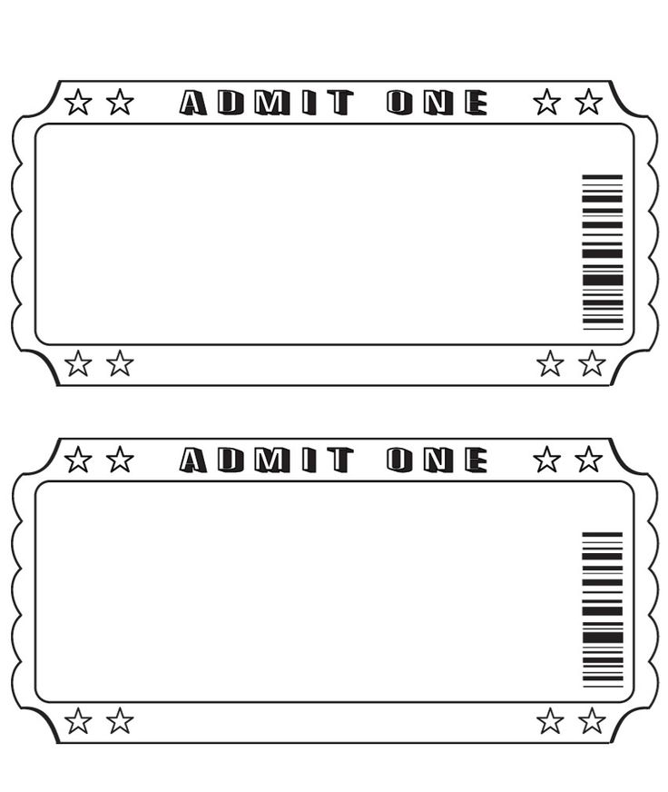 Movie Ticket Template Printable