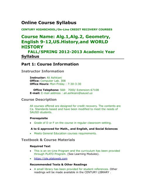 Online Course Syllabus Template