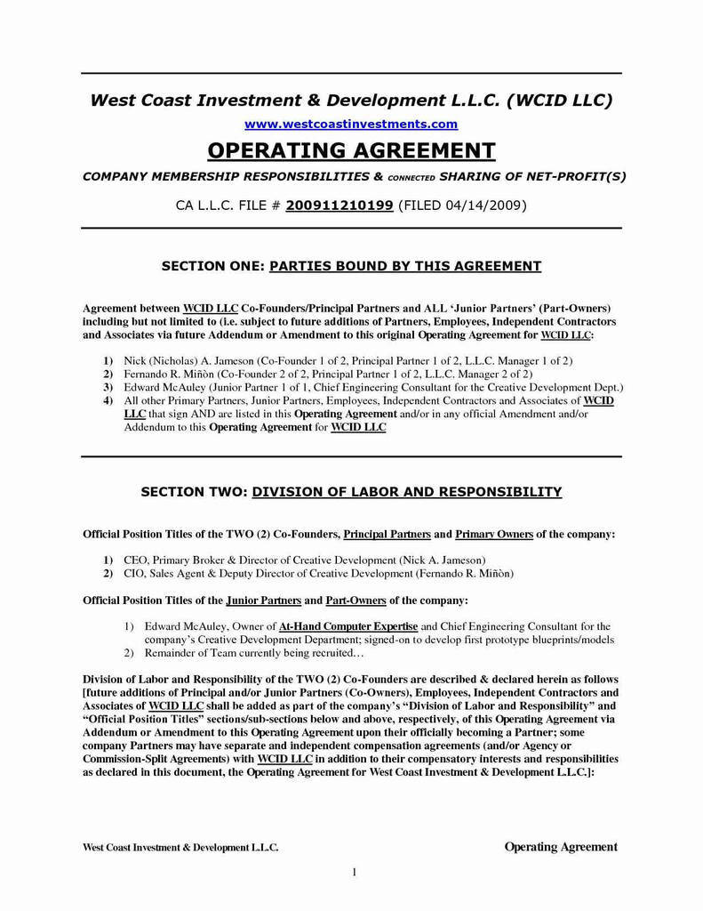Operation Agreement Llc Template Best Of Md Llc Operating Agreement Inspirational Operating Agreement Llc