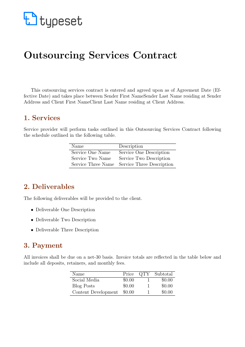 Outsourcing Contract Template