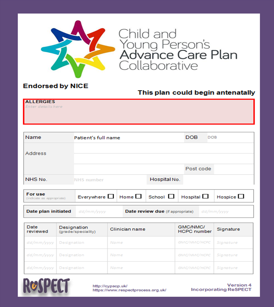 Palliative Care Plan Template