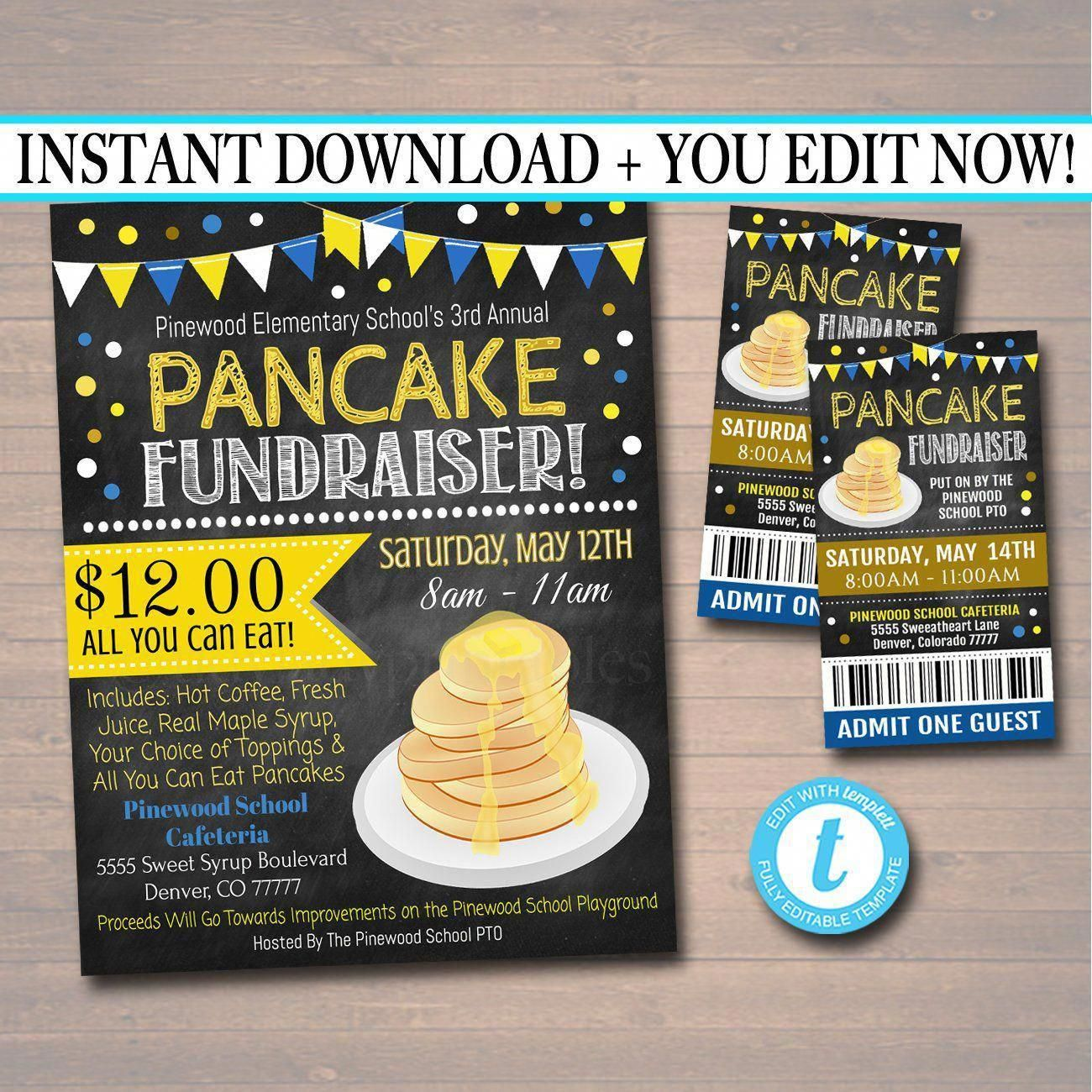 Pancake Breakfast Fundraiser Ticket Template