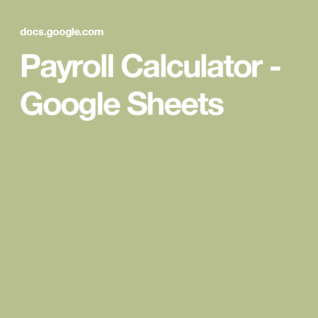 Payroll Template Google Sheets