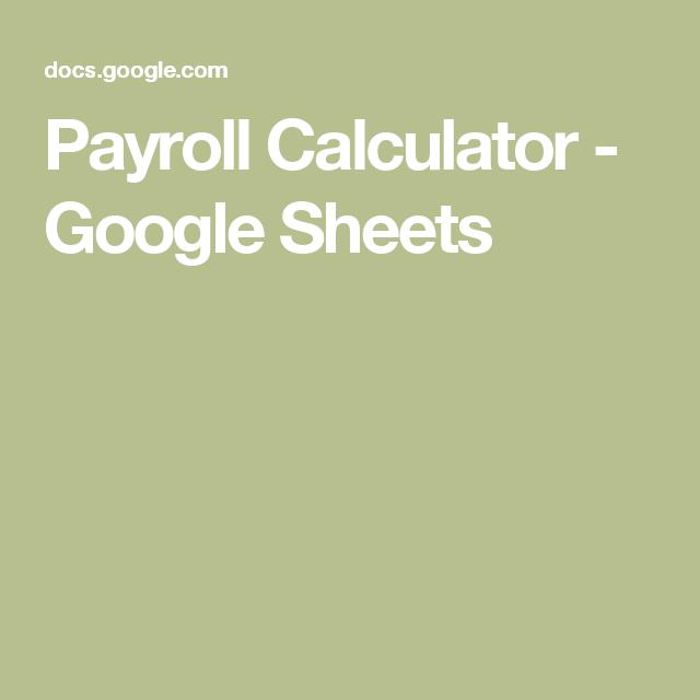 Payroll Template Google Sheets