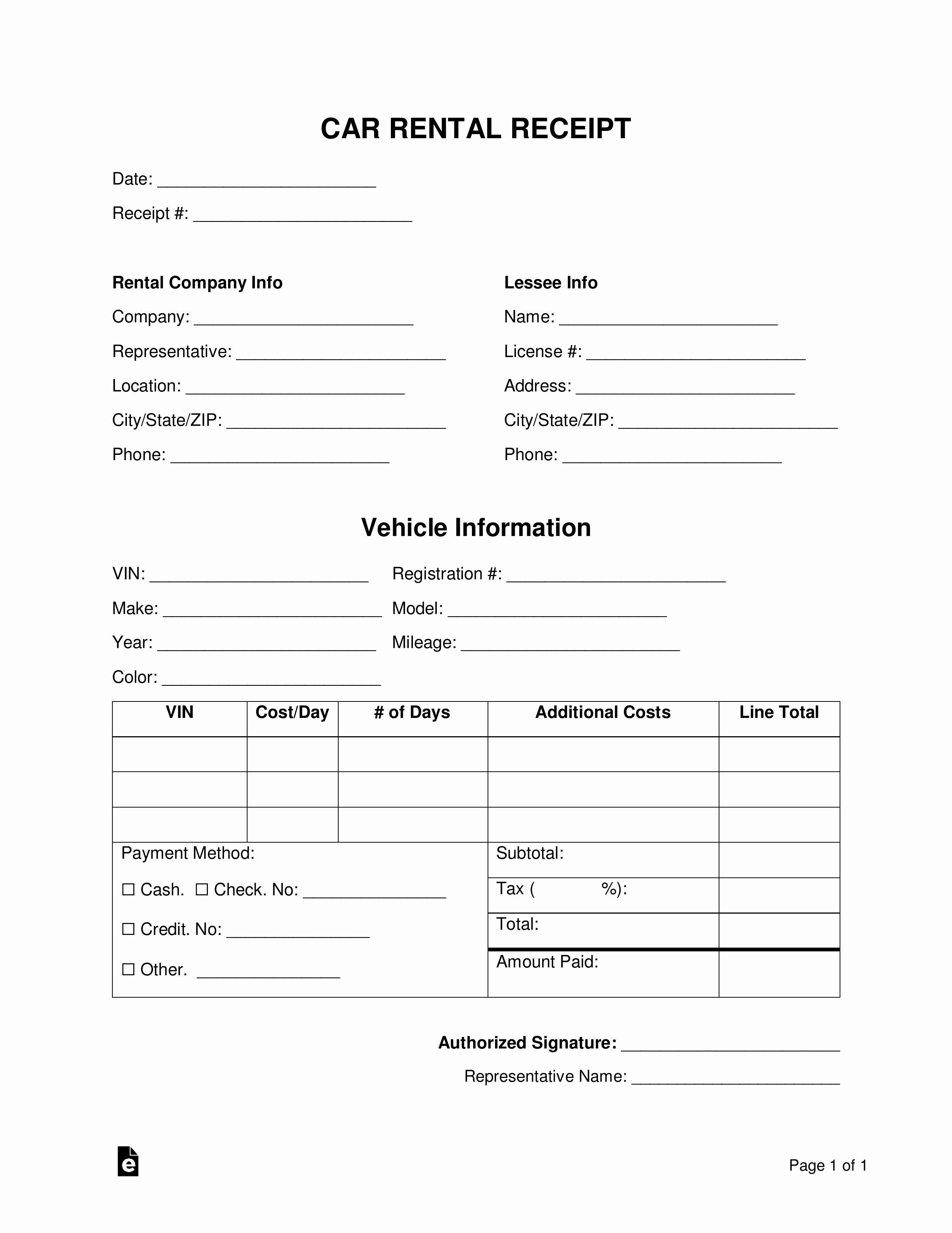 Pdf Car Rental Receipt Template
