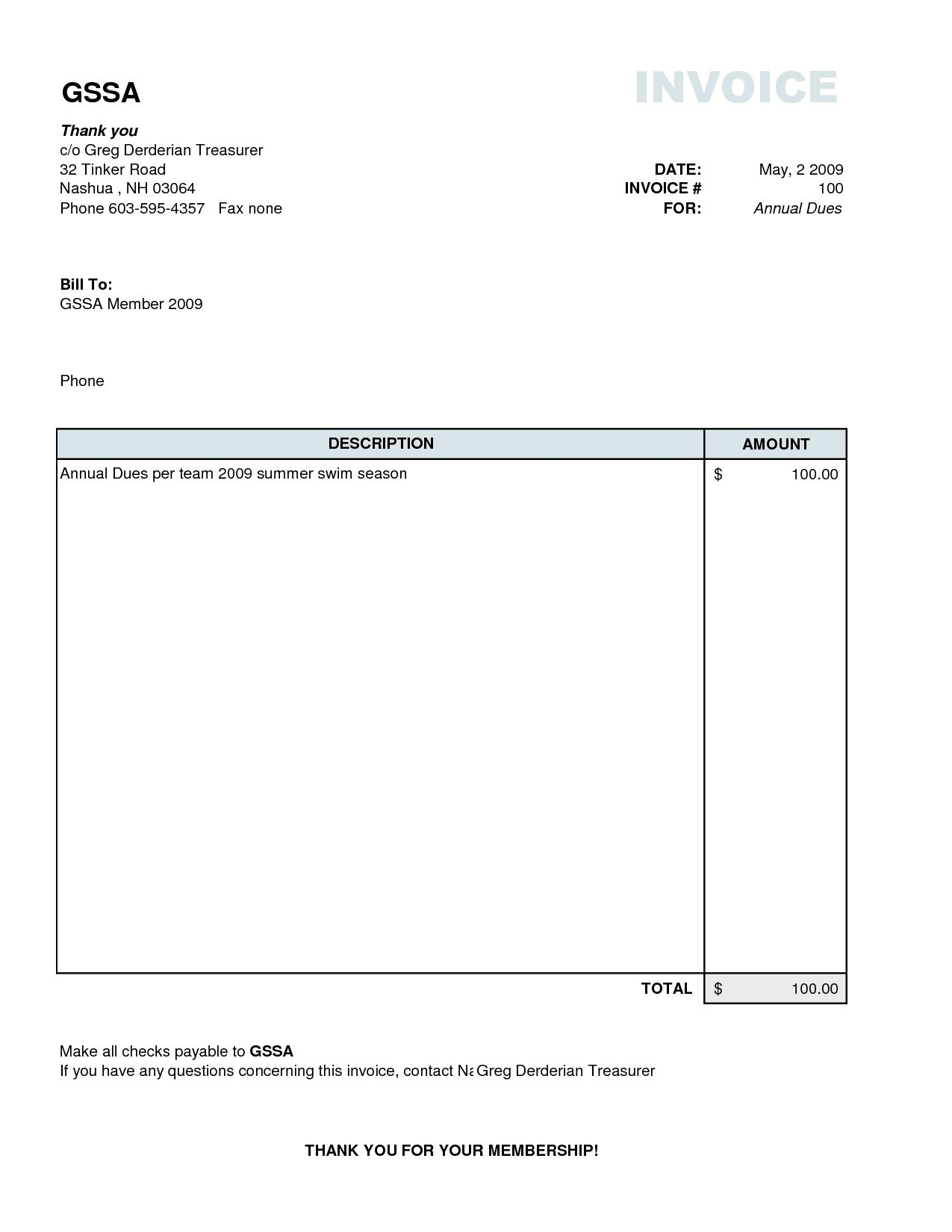 Plain Invoice Template