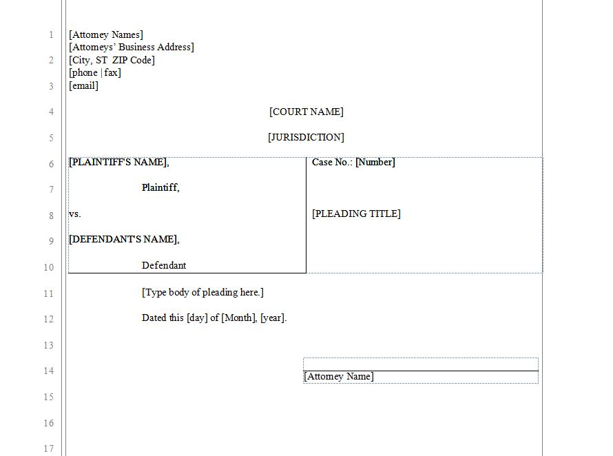 Pleading Paper Legal Pleading Template