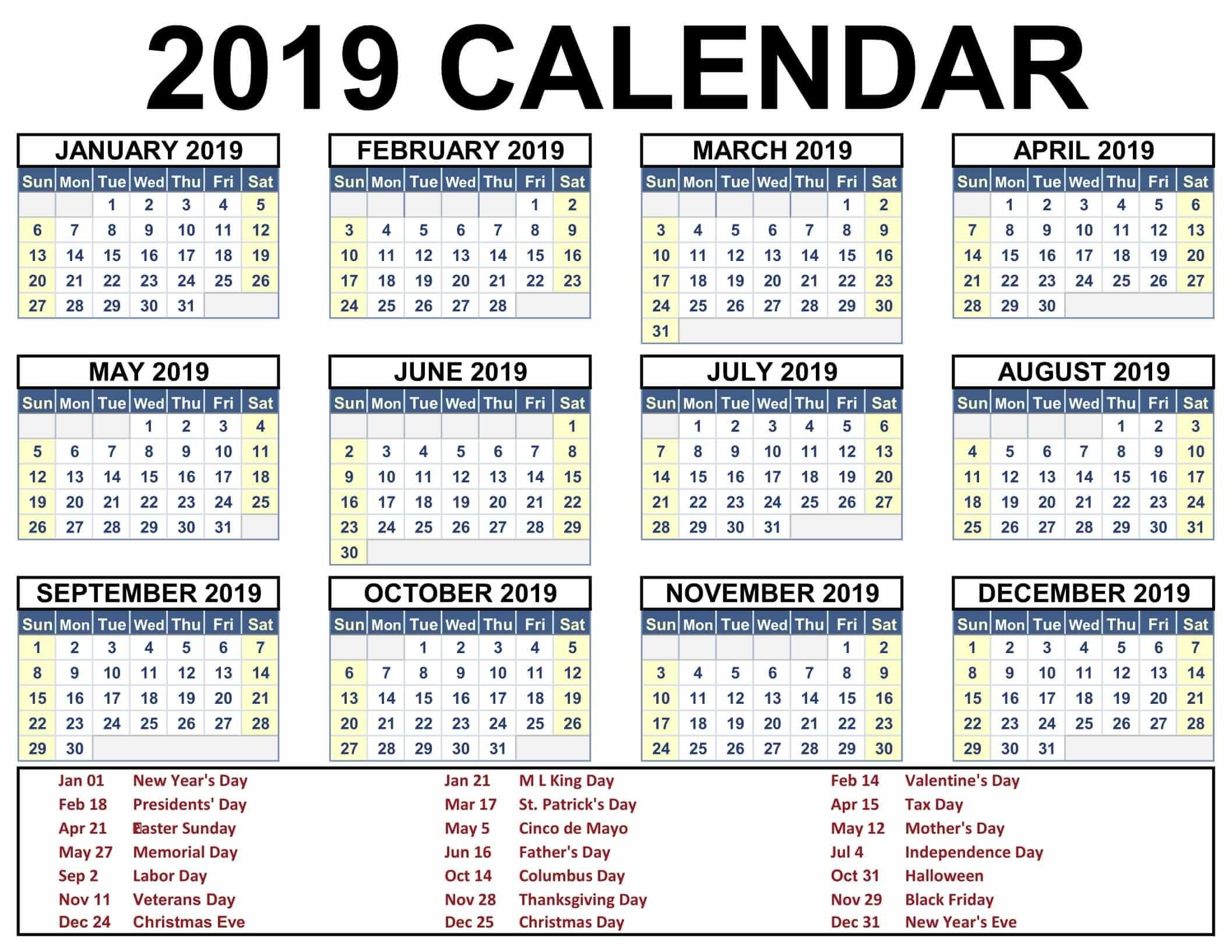 Pr Calendar Template 2019