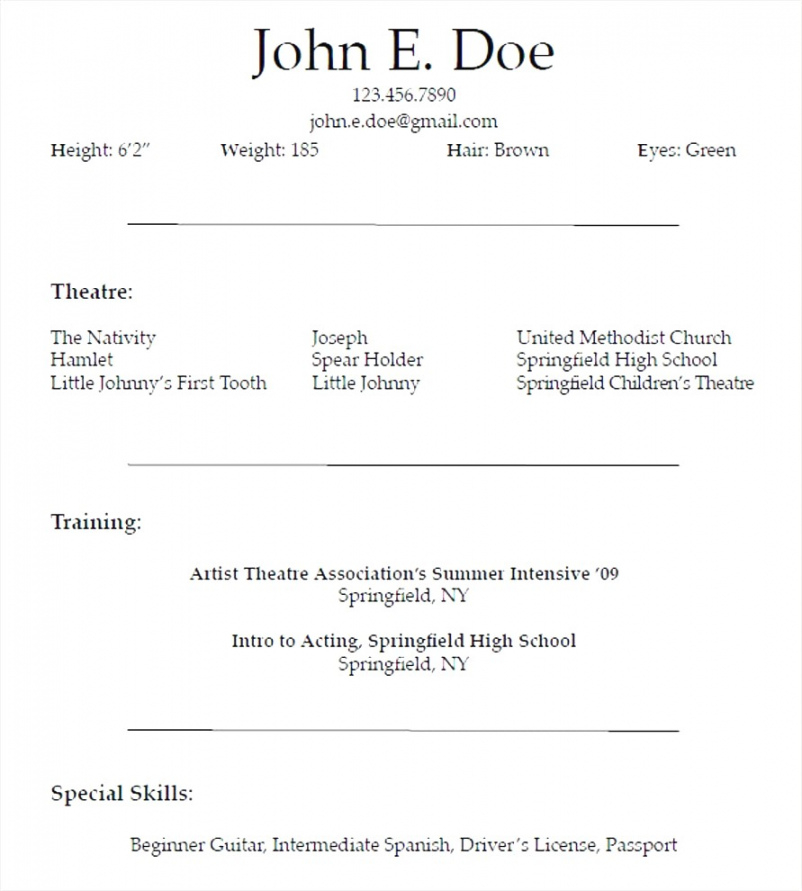 Printable 019 Free Actors Resume Template For Beginners Templates Beginner Beginner Actor Resume Template Sample