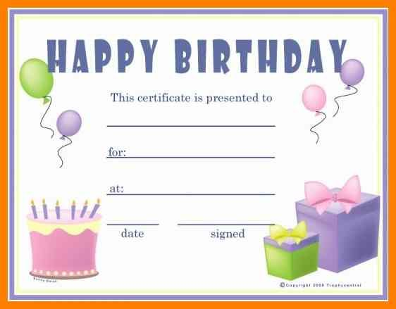 Printable Birthday Gift Certificates Templates Free