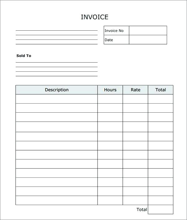 Printable Blank Invoices Template