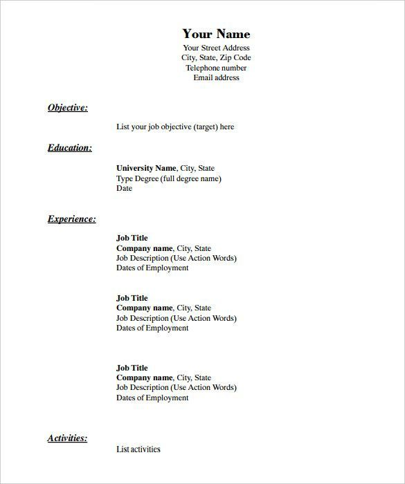 Printable Blank Printable Basic Resume Template