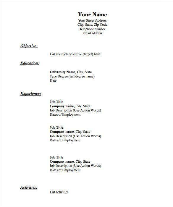 Printable Blank Printable Basic Resume Template