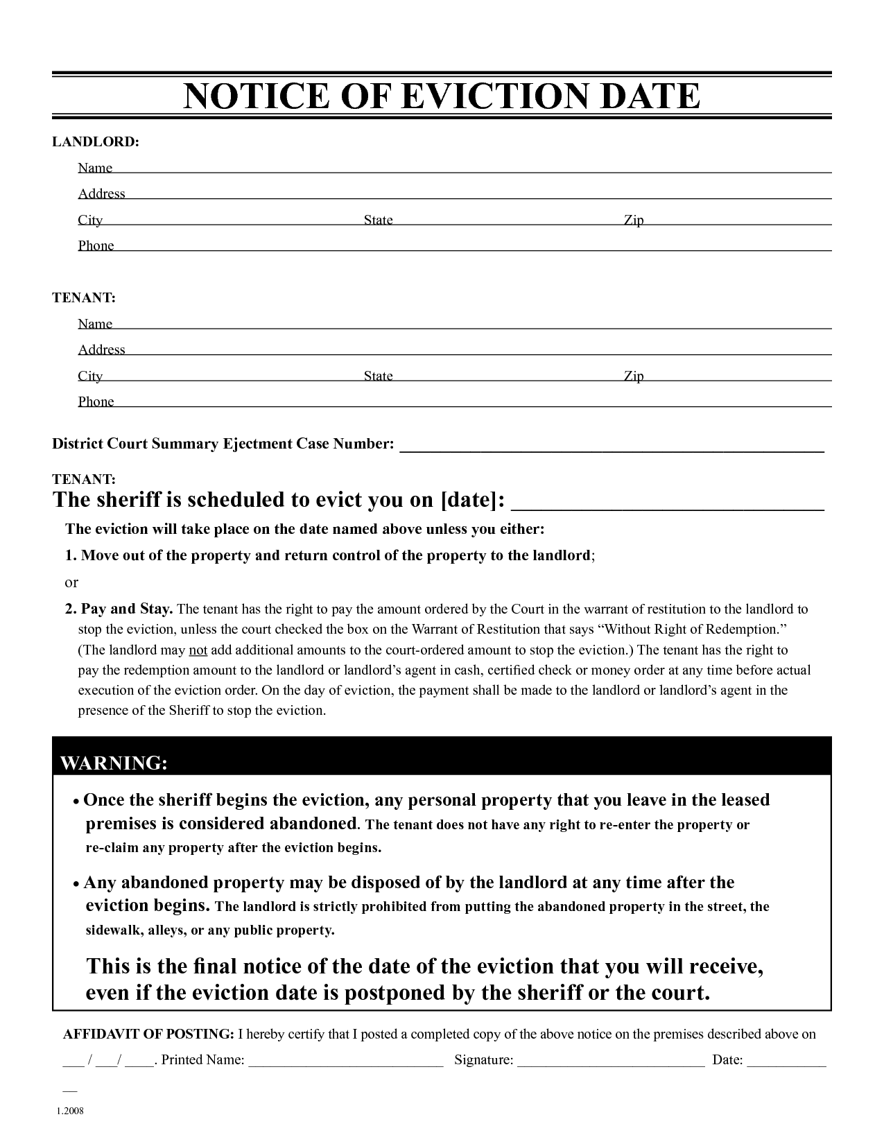 Printable Eviction Letter Template Free