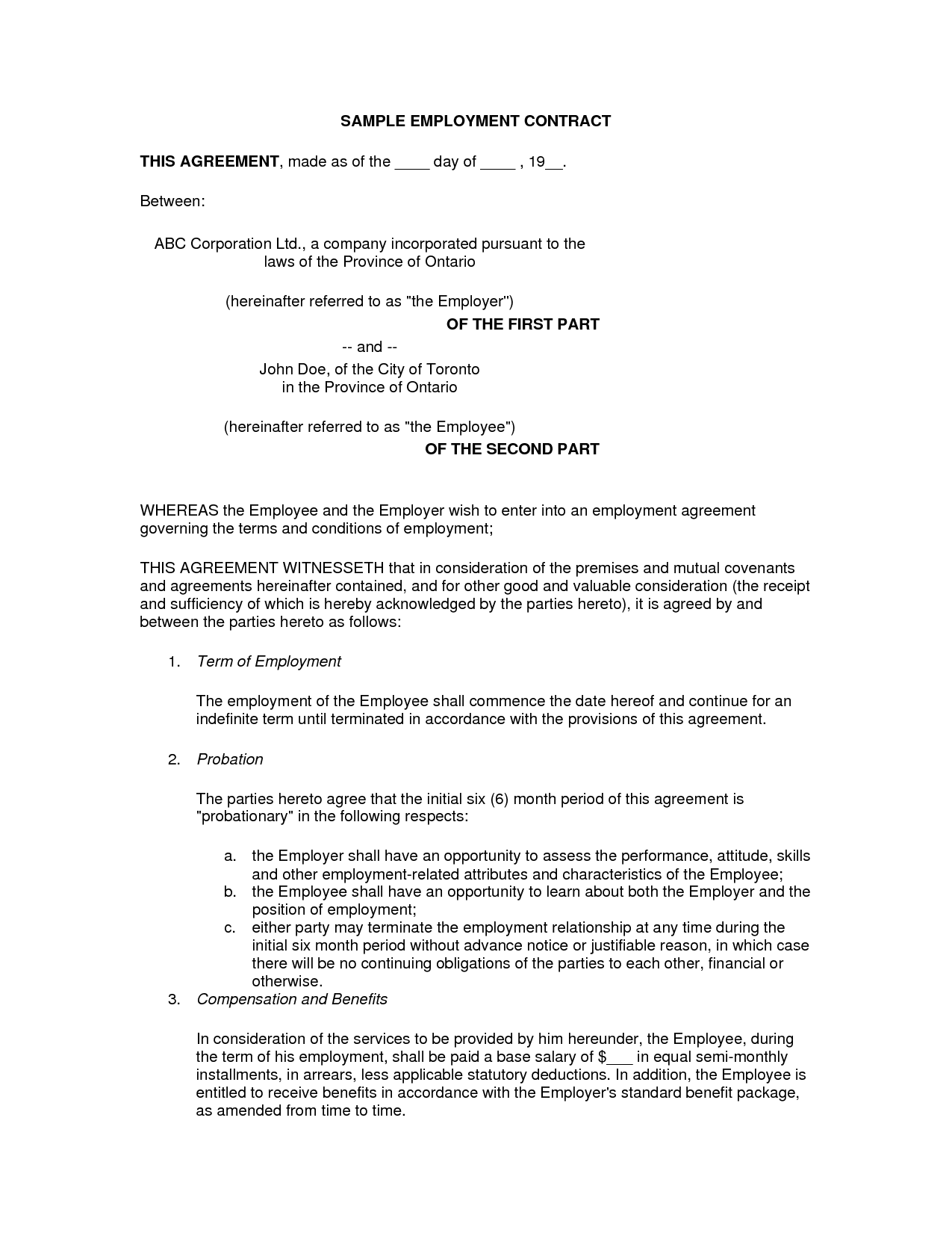Printable Free Basic Employment Contract Template