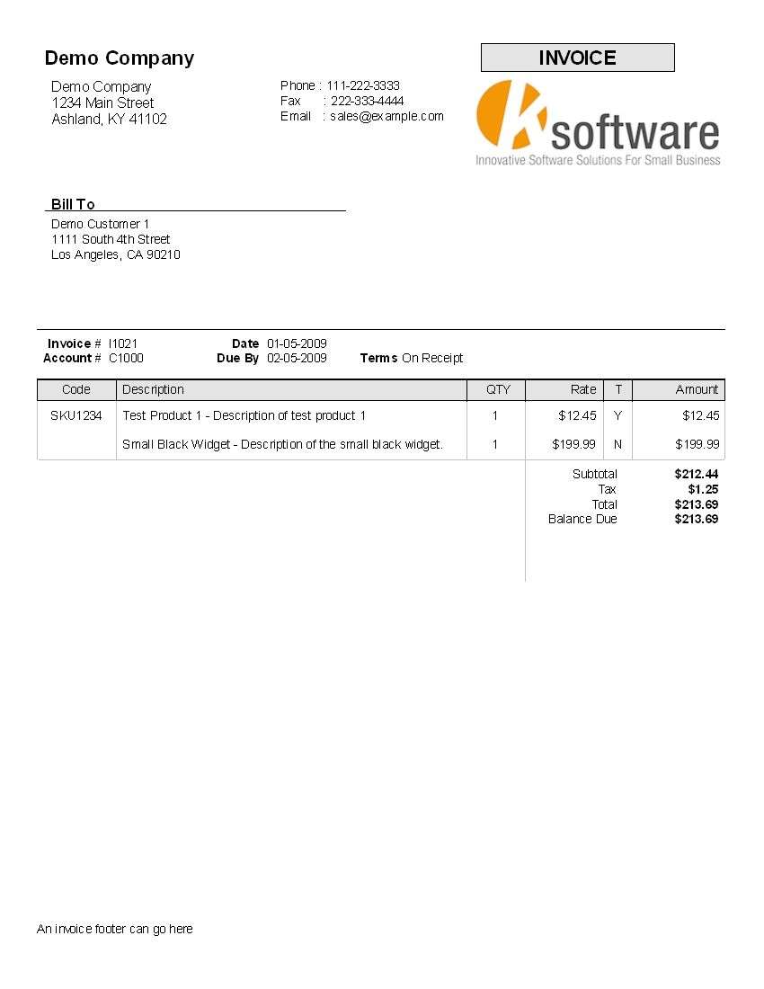 Printable Invoice For Payment Template