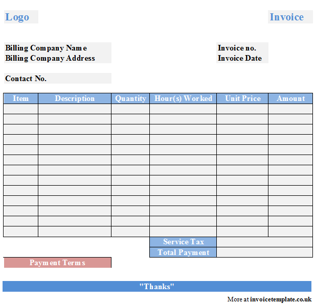 Printable Maintenance Invoice Template