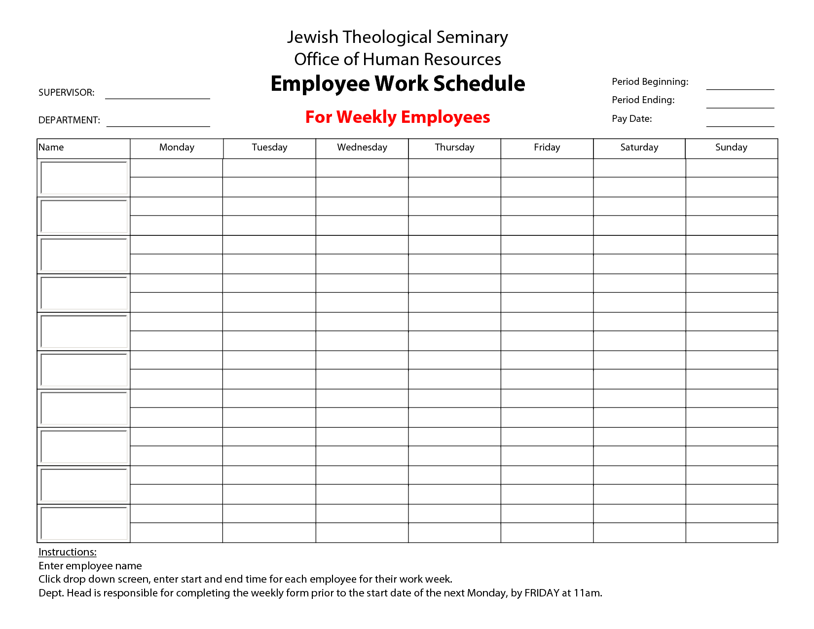 Printable Monthly Employee Work Schedule Template