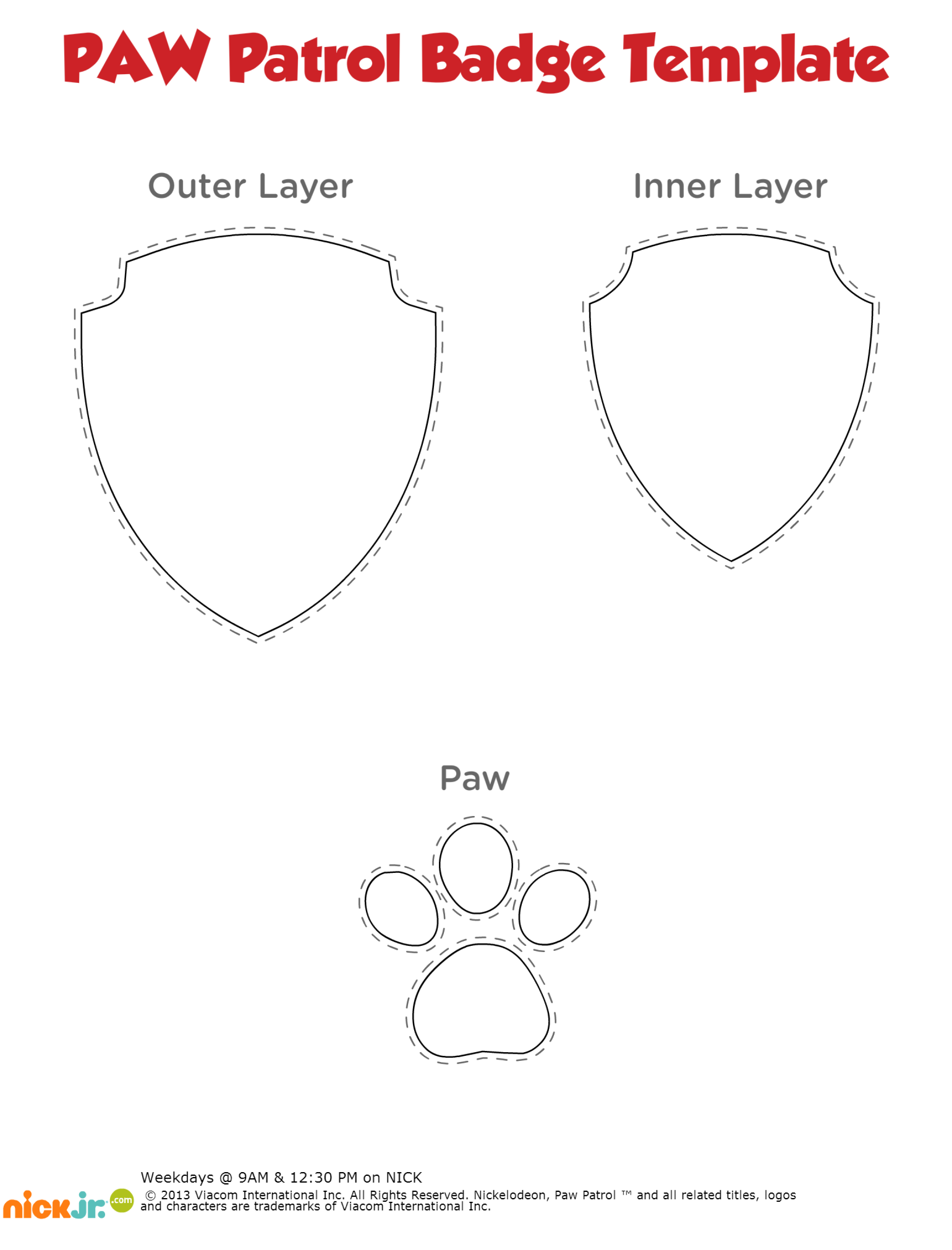 Printable Paw Patrol Badge Template