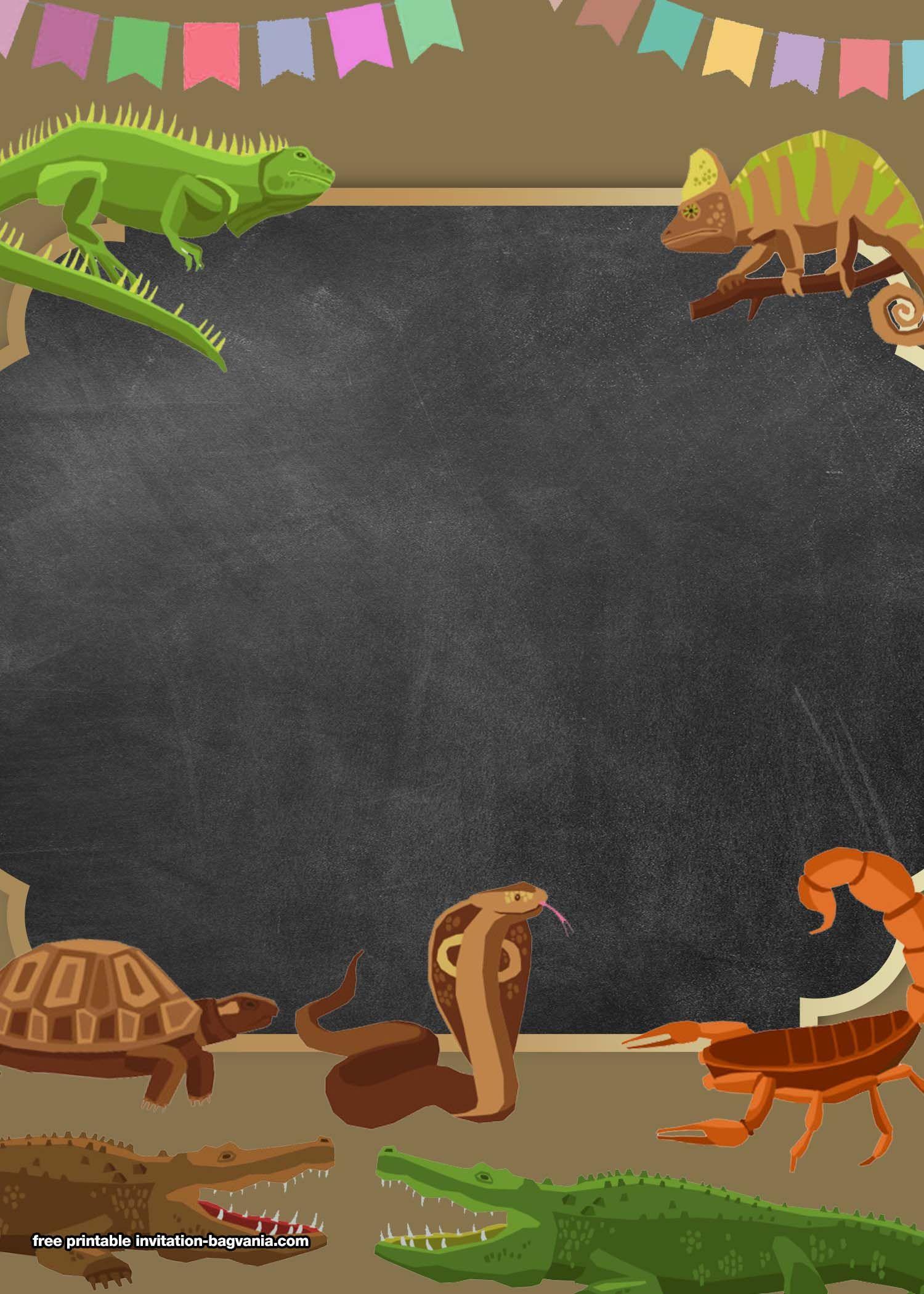 Printable Reptile Party Invitation Templates