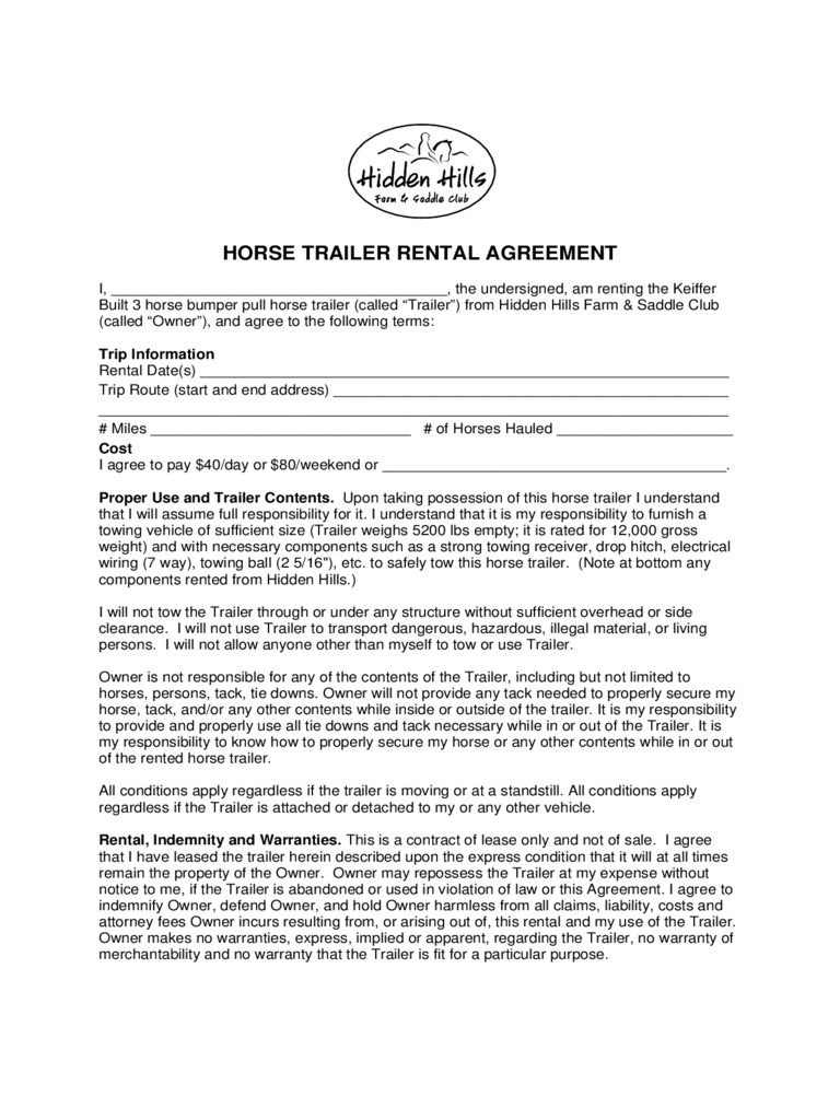 Printable Trailer Rental Agreement Template
